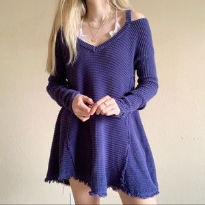 Free People knitted oversized sweater blue